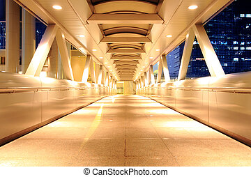corridor of the city hall at night in hong kong