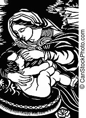 Ave Maria - Paper-cutting of Maria feeding an infant in...