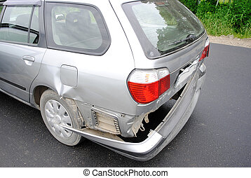 car accident - Back bumper of the car after a car accident.
