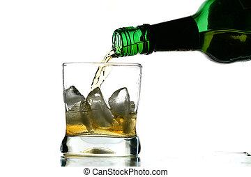 whisky splash alcohol drops isolated on white