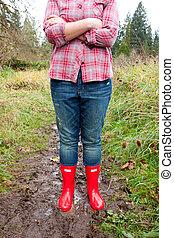雨, ブーツ, 赤