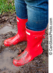 Red Rain Boots - Red rain boots on the legs of a girl after...