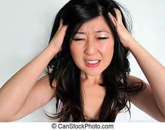 Stressed frustrated (headache) Girl - Asian girl stressed...