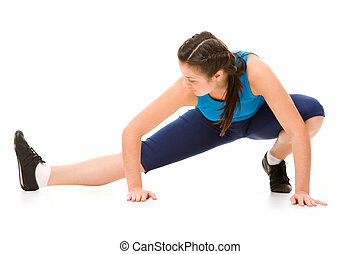 Stretching - Image of sporty girl standing on the floor and...
