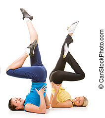 Energetic ladies - Photo of two female friends doing...