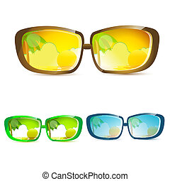 summer eye wears - illustration of summer eye wears on white...