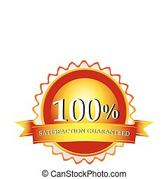 100% satisfaction guaranteed logo - illustration of 100%...