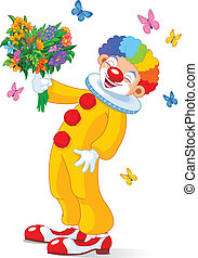 Cute Clown with flowers - Illustration of Cute Clown with...