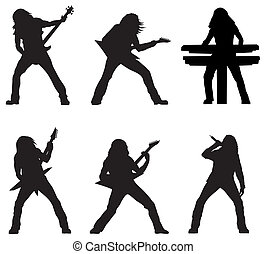 Rock musicians - Abstract vector illustration of rock...