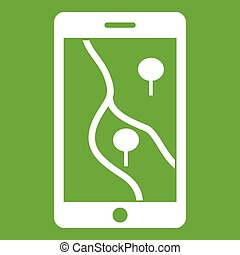Smartphone with GPS navigator icon green - Smartphone with...