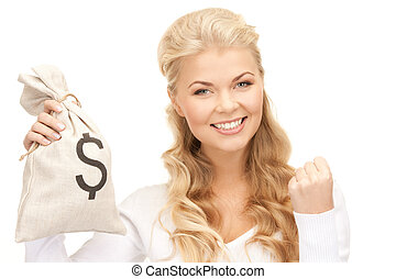 woman with dollar signed bag - picture of woman with dollar...