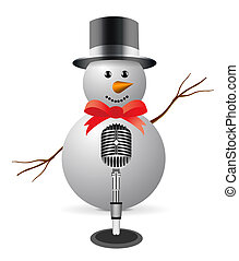 Snowman with microphone. Isolated on white background.