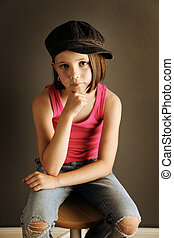 Girl with attitude - Beautiful young female child wearing a...