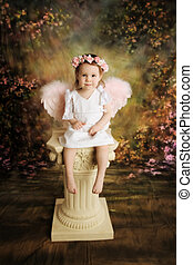 Sweet Toddler Angel - Beautiful young toddler girl wearing a...