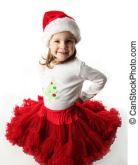 Little girl wearing Christmas santa hat and red pettiskirt -...