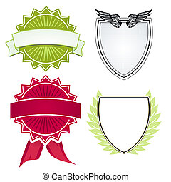 Various shields and crests