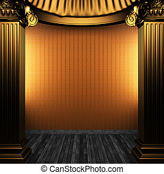 bronze columns and wallpaper made in 3D