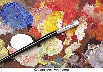 artist palette with paint brush background