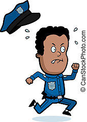 Police Officer Running - A cartoon child police officer...