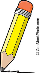 Cartoon Pencil - A cartoon illustration of a yellow pencil