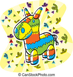 Cartoon Pinata - A cartoon donkey shaped pinata with...