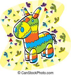 Cartoon Pinata - A cartoon donkey shaped pinata with...
