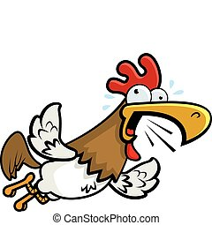 Rooster Flying - A cartoon rooster flying and crowing...