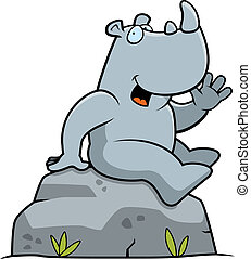 Rhino Sitting - A happy cartoon rhino sitting and smiling.