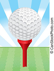 Golf Ball Tee - A white golf ball on a red golf tee