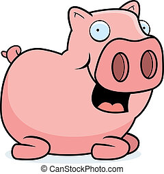Pig Sitting - A happy cartoon pig sitting and smiling.