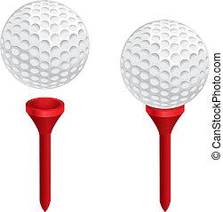 Golf Ball Tee - A white golf ball on a red golf tee.