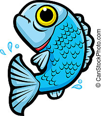 Fish Jumping - A cartoon fish jumping out of the water.