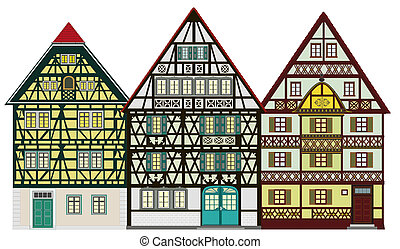Village view with traditional homes - Traditional farm...