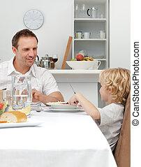 orgulloso, papá, Hablar, el suyo, hijo, mientras,...