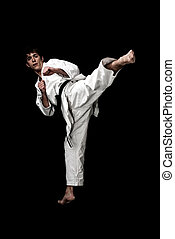 Karate male fighter young high contrast on black background...