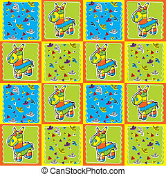 Pinata Pattern - A seamless repeating cartoon pattern with a...