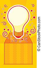 Outside the Box - A cartoon light bulb outside of the box.
