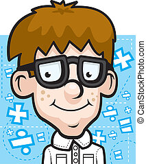 Math Nerd - A cartoon math nerd happy and smiling