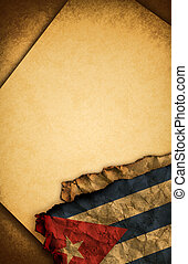 Cuban flag and old paper - Cuban flag and old document...