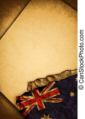 Australian flag and old paper - Australian flag and old...