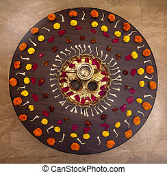 rangoli table, patterns with flowers and petals - table...