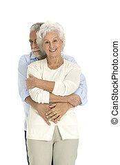portrait of a happy couple of elderly