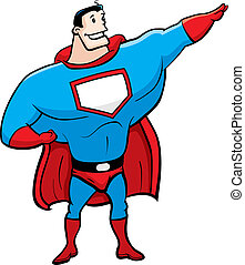 Cartoon Superhero - A happy cartoon superhero standing and...