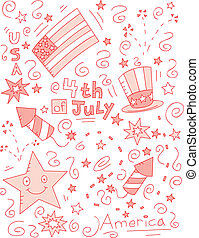 4th of July Doodle - A cartoon doodle with a 4th of July...