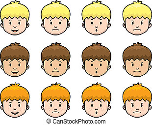 Boy Expressions - A cartoon boy with a variety of...