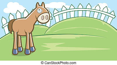 Cartoon Horse - A happy cartoon horse standing and smiling.