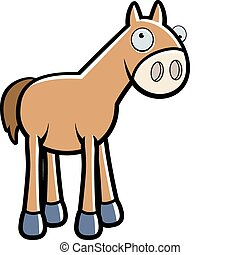 Cartoon Horse - A happy cartoon horse standing and smiling