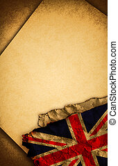 UK flag and old paper - UK flag and old document papers