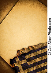 Greek flag and old paper - Greek flag and old document...
