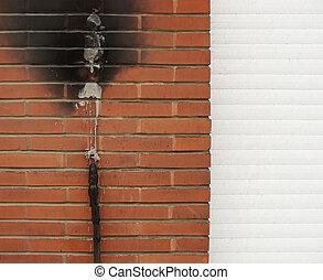 shortinho, fogo, dano, parede, circuito, tijolo